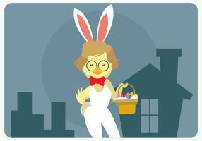 Hipster Ostern Küken mit den Häschen-Kostüm Vektor