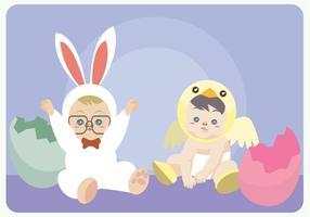 Barn med kanin och fågelunge kostym Vector