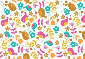 Retro Bird & Floral Illustrator Muster