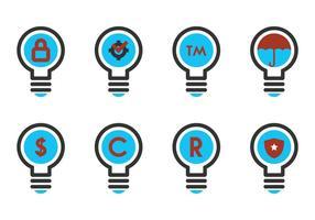 Copyright symbol i en glödlampa