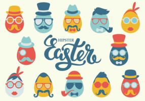 Hipster Easter Icons Vektor
