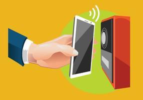 Man Bezahlen mit NFC-Technologie auf Handy vektor