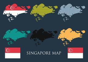 Singapur Karte Vector Set
