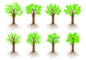 Ikone des Baumes mit Wurzeln