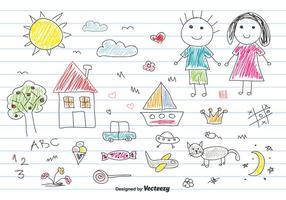 Kinder Zeichnung Vector Set