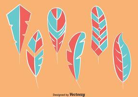 Blå och rosa fågelfjäder vektorer