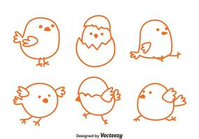 Sketch Ostern Küken Vektoren