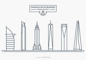 Freie berühmten Wolkenkratzer Vector Linie Kunst