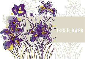 Iris blomma Banner Line Art vektor
