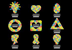 Colorful Puzzle Symbol för Autism