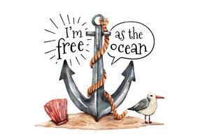 Aquarell Anker Seagull und Auster mit Ozean-Zitat