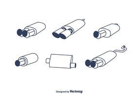 Schalldämpfer Vektor Set