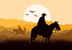 Gaucho Sunset Silhouette Free Vector