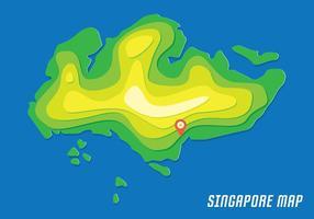 Singapore Karta Med Contour vektor