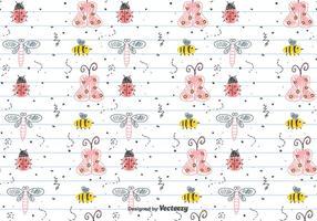 Kinderzeichnung Insekten Muster vektor