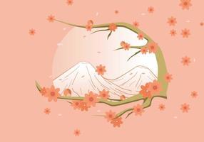 Freier eleganter Frühlings-Hintergrund mit Pfirsich-Blumen-Vektor