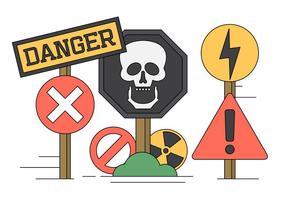 Vektor Illustration av fara sjunger och ikoner