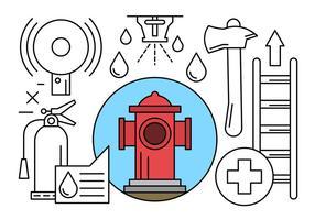 Feuerwehrmann und Feuerwehr Icons in Vektor
