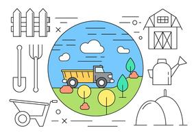 Minimal Styled Farming ikoner i vektor