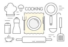 Vektoren von Kochutensilien in Minimal-Entwurfs-Art