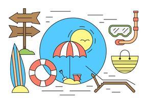 Minimal Gestaltet Sommer-Strand-Icons vektor