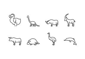 Slocknat djur ikoner vektor