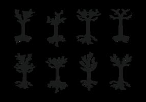 Träd med rötter silhuett vektor