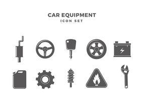 Auto-Ausrüstung Icon Set Free Vector
