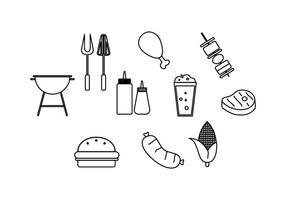 Kostenloses Barbecue Linie Icon Vektor