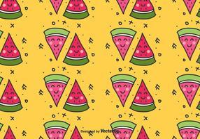 Vattenmelon Doodle Pattern vektor