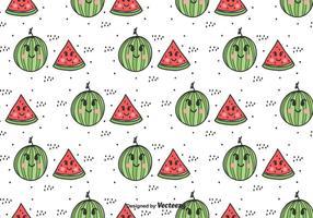 Tecknad vattenmelon Vector Mönster