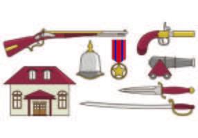 Set der amerikanischen Kolonial Icons vektor