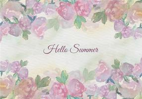 Free Vector Aquarell Sommer-Blumenweinlese-Illustration