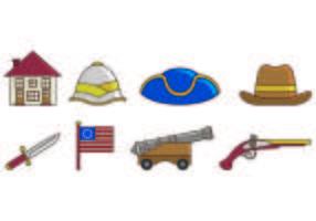Set der amerikanischen Kolonial Icons