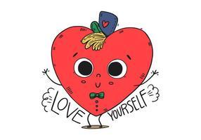 Nette Herz-Kind-Figur mit Hut und glücklich Zitat vektor