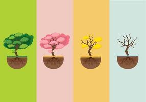 Seasons träd med rötter Gratis Vector