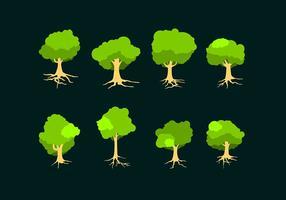 Platt träd med rötter fri vektor