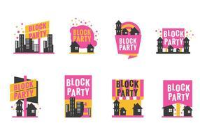 Ställ Block Party etikett eller affisch med minimalistisk stil
