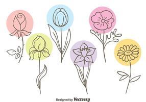 Vacker Sketch Flowers Collection Vector