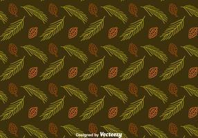 Tannenzapfen und Blätter Nahtlose Muster Vektor