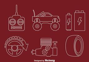 Rc Car Element Line Icons Vectors