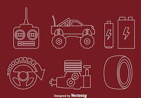 RC-Car-Element-Linie Icons Vectors