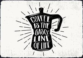 Gratis Vector Kaffeketel Silhuett Illustration Med Typografi