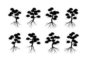Silhouette träd med rötter Gratis Vector