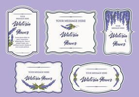 Wisteria Flower Label Banner Rahmen Vektor