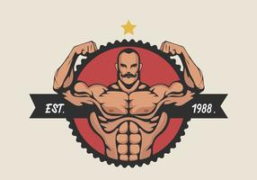 Muscular Man Flexing Bicep Vector Illustration