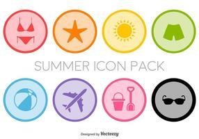 Flache Sommer Icons Set - Vektor