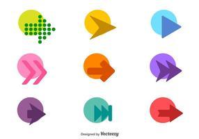 Vektor uppsättning av färgglada pil ikoner