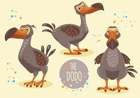 Dodo Vogel Cartoon Zeichen Sammlung vektor