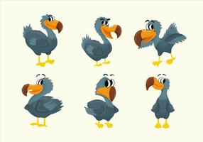 Dodo Cartoon Charakter Pose Vektor-Illustration